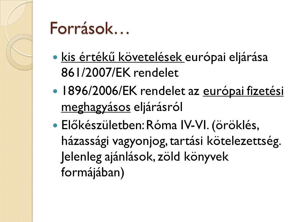 Források… kis értékű követelések európai eljárása 861/2007/EK rendelet 1896/2006/EK rendelet az európai fizetési meghagyásos eljárásról Előkészületben