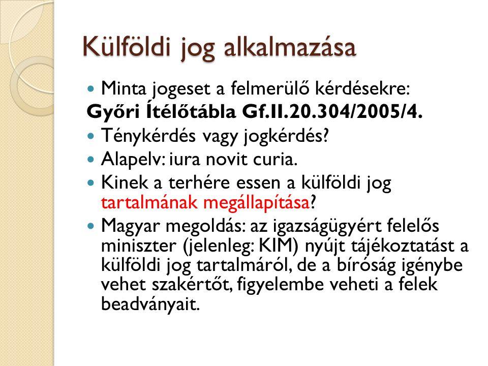 Külföldi jog alkalmazása Minta jogeset a felmerülő kérdésekre: Győri Ítélőtábla Gf.II.20.304/2005/4. Ténykérdés vagy jogkérdés? Alapelv: iura novit cu