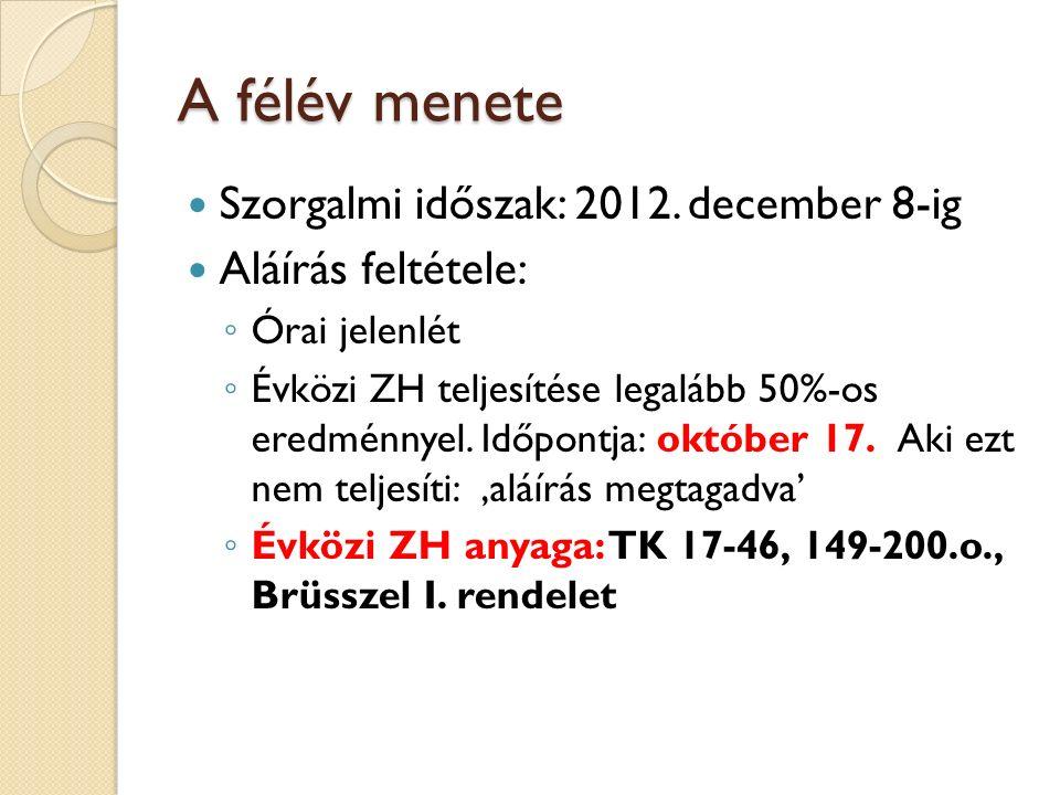 A félév menete Szorgalmi időszak: 2012. december 8-ig Aláírás feltétele: ◦ Órai jelenlét ◦ Évközi ZH teljesítése legalább 50%-os eredménnyel. Időpontj
