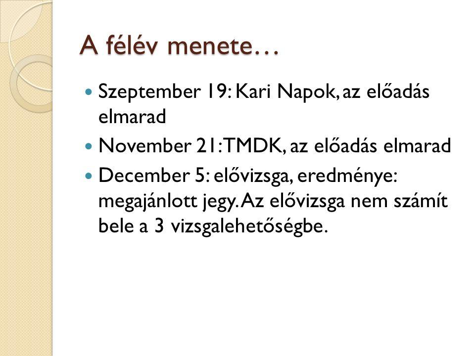 A félév menete… Szeptember 19: Kari Napok, az előadás elmarad November 21: TMDK, az előadás elmarad December 5: elővizsga, eredménye: megajánlott jegy
