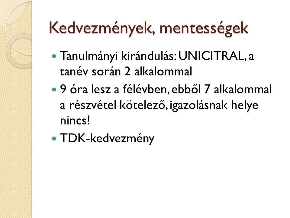 Kedvezmények, mentességek Tanulmányi kirándulás: UNICITRAL, a tanév során 2 alkalommal 9 óra lesz a félévben, ebből 7 alkalommal a részvétel kötelező,
