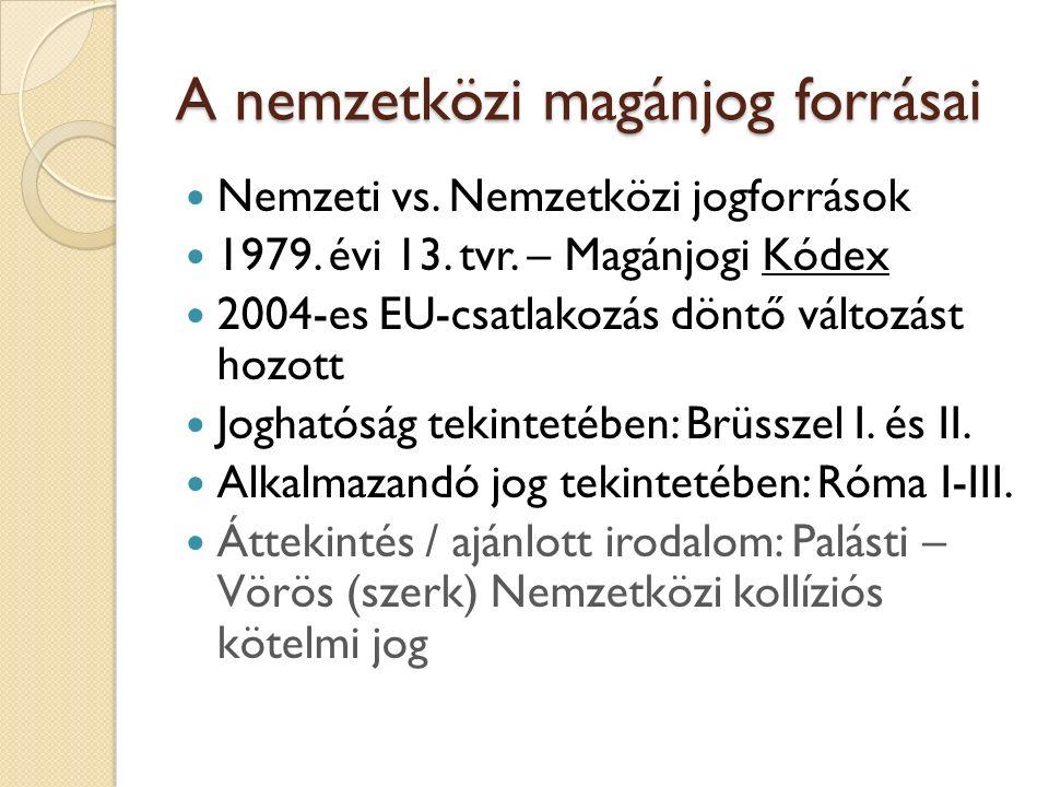 A nemzetközi magánjog forrásai Nemzeti vs. Nemzetközi jogforrások 1979. évi 13. tvr. – Magánjogi Kódex 2004-es EU-csatlakozás döntő változást hozott J