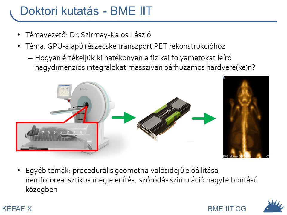KÉPAF XBME IIT CG Jelenleg: – BME Irányítástechnika és Informatika Tanszék: adjunktus – Universitat de Girona: szerződéses kutató Kutatási témák: – PET rekonstrukció: egyéb fizikai hatások, dinamikus 4D PET, PVE… – Nemfotorealisztikus megjelenítés, stílustranszfer képek között Jelen és jövő + =