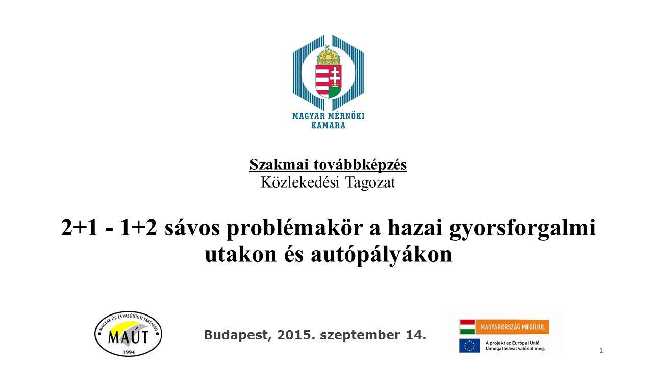 Szakmai továbbképzés Közlekedési Tagozat 2+1 - 1+2 sávos problémakör a hazai gyorsforgalmi utakon és autópályákon 1 Budapest, 2015. szeptember 14.