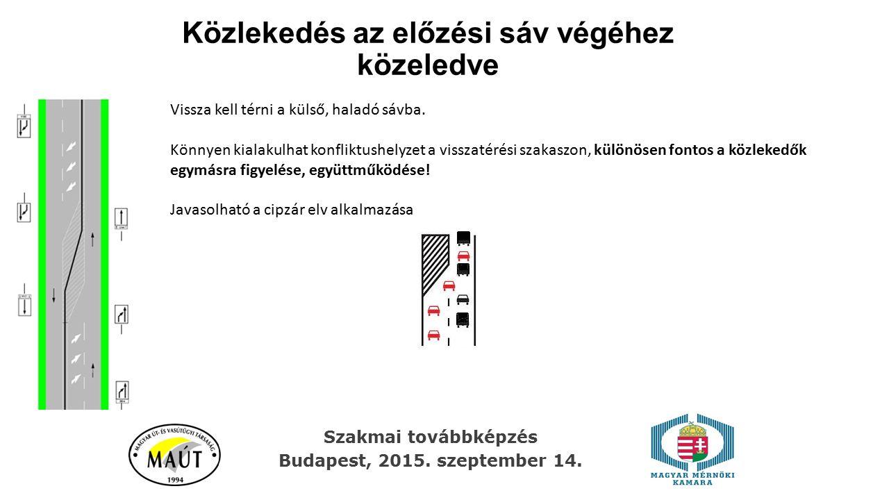 Közlekedés az előzési sáv végéhez közeledve Szakmai továbbképzés Budapest, 2015. szeptember 14. Vissza kell térni a külső, haladó sávba. Könnyen kiala