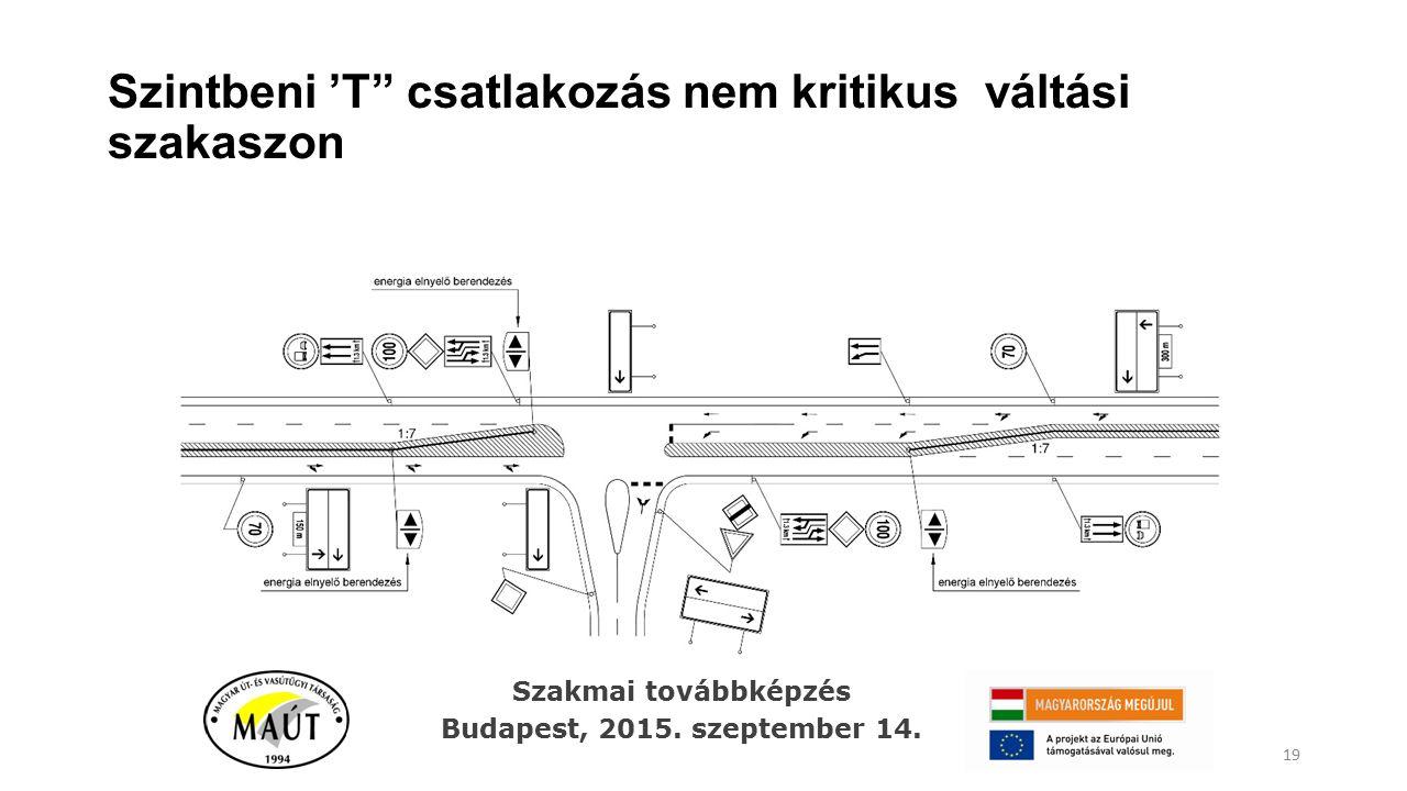"""Szintbeni 'T"""" csatlakozás nem kritikus váltási szakaszon 19 Szakmai továbbképzés Budapest, 2015. szeptember 14."""