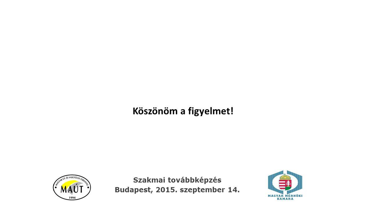 Köszönöm a figyelmet! Szakmai továbbképzés Budapest, 2015. szeptember 14.