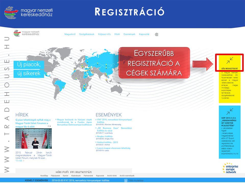 R EGISZTRÁCIÓ E GYSZERŰBB REGISZTRÁCIÓ A CÉGEK SZÁMÁRA WWW. TRADEHOUSE. HU