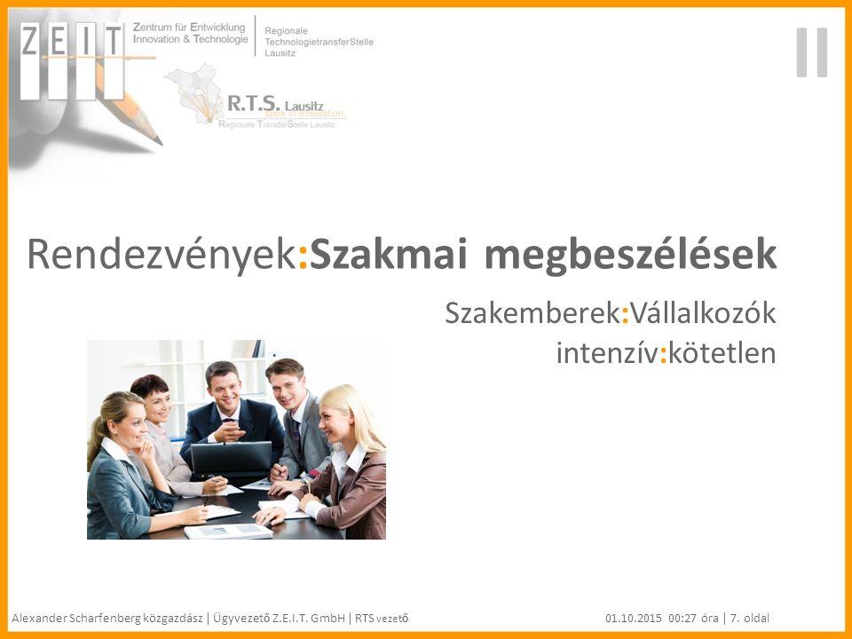 Rendezvények:Szakmai megbeszélések Szakemberek:Vállalkozók intenzív:kötetlen II Alexander Scharfenberg közgazdász | Ügyvezet ő Z.E.I.T.