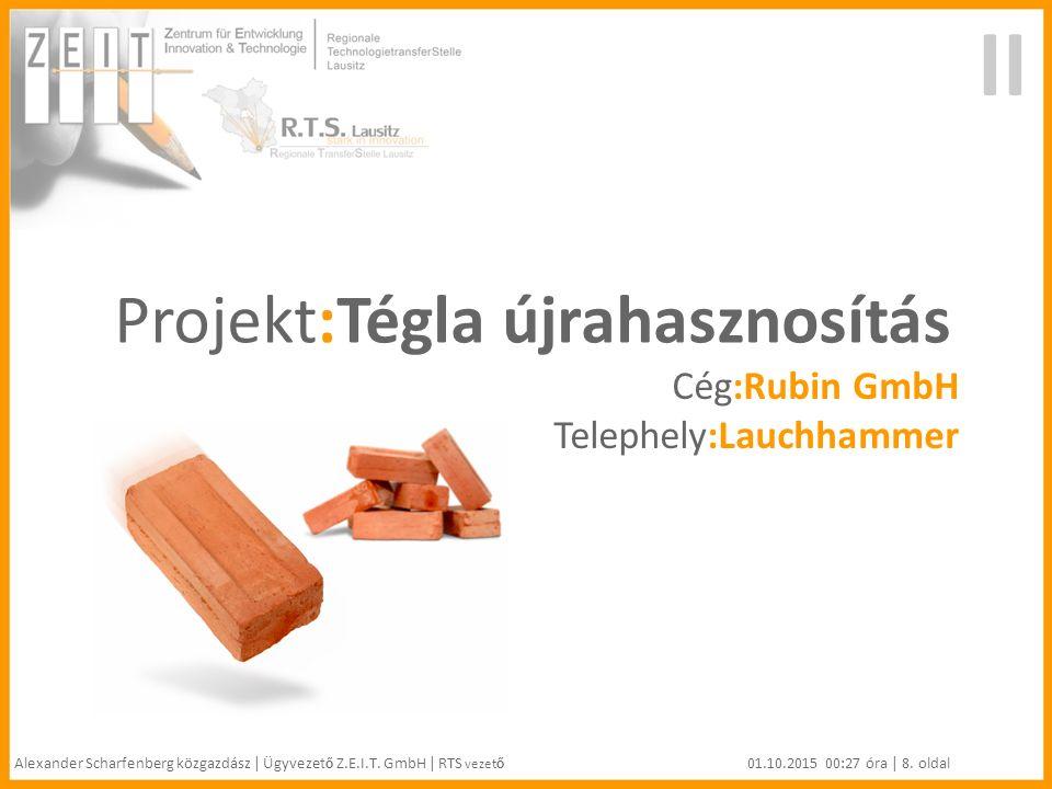 II Projekt:Tégla újrahasznosítás Cég:Rubin GmbH Telephely:Lauchhammer Alexander Scharfenberg közgazdász | Ügyvezet ő Z.E.I.T.
