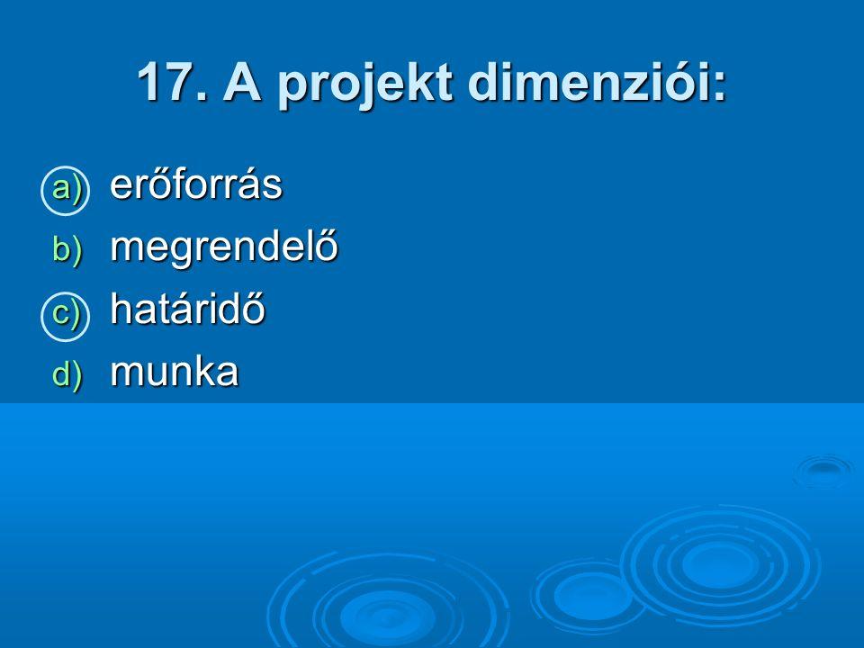 17. A projekt dimenziói: a) erőforrás b) megrendelő c) határidő d) munka