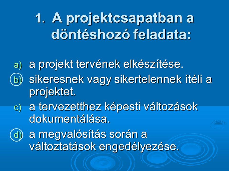 1. A projektcsapatban a döntéshozó feladata: a) a projekt tervének elkészítése.