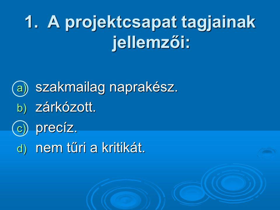 1.A projektcsapat tagjainak jellemzői: a) szakmailag naprakész.