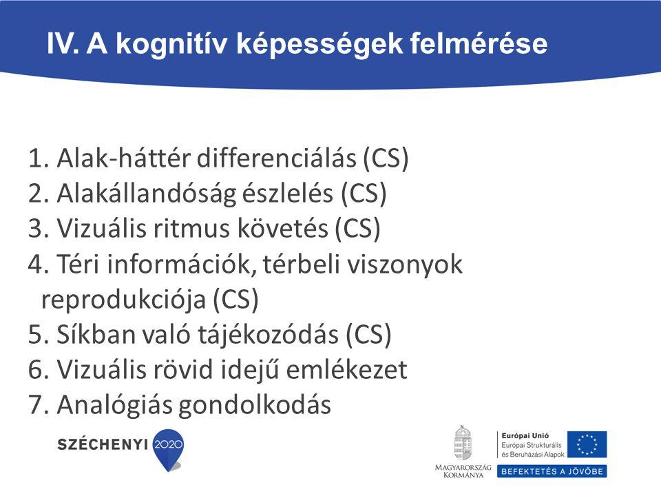 IV. A kognitív képességek felmérése 1. Alak-háttér differenciálás (CS) 2. Alakállandóság észlelés (CS) 3. Vizuális ritmus követés (CS) 4. Téri informá
