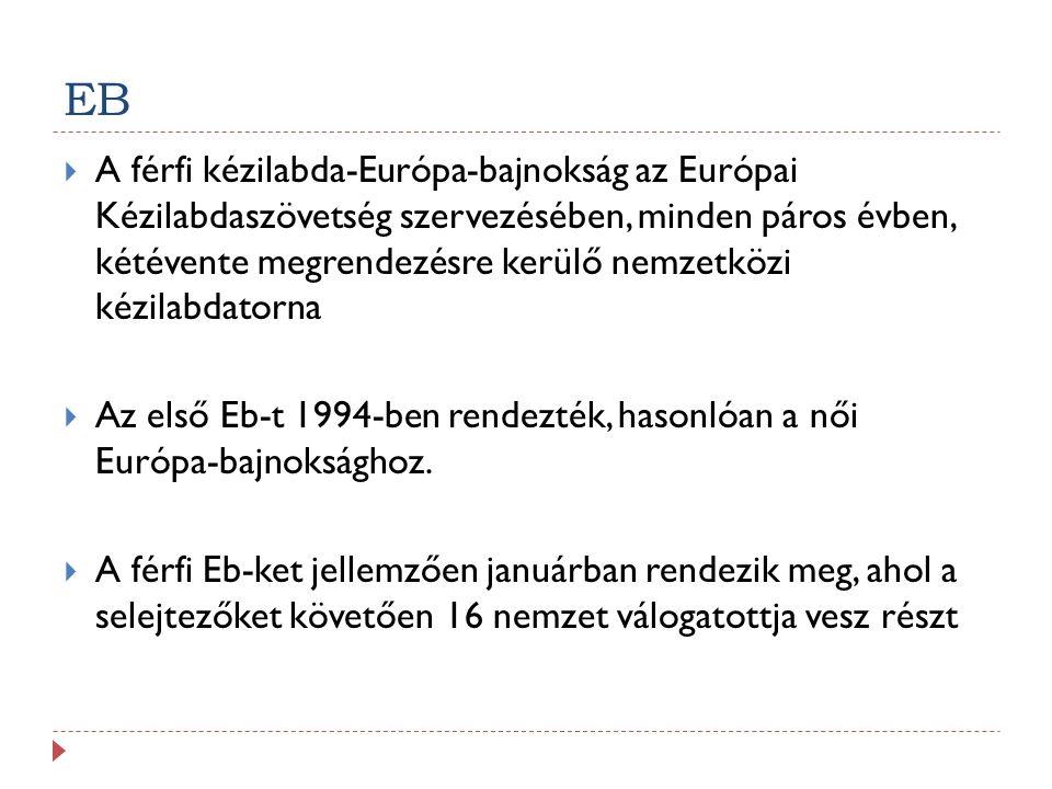 EB  A férfi kézilabda-Európa-bajnokság az Európai Kézilabdaszövetség szervezésében, minden páros évben, kétévente megrendezésre kerülő nemzetközi kézilabdatorna  Az első Eb-t 1994-ben rendezték, hasonlóan a női Európa-bajnoksághoz.