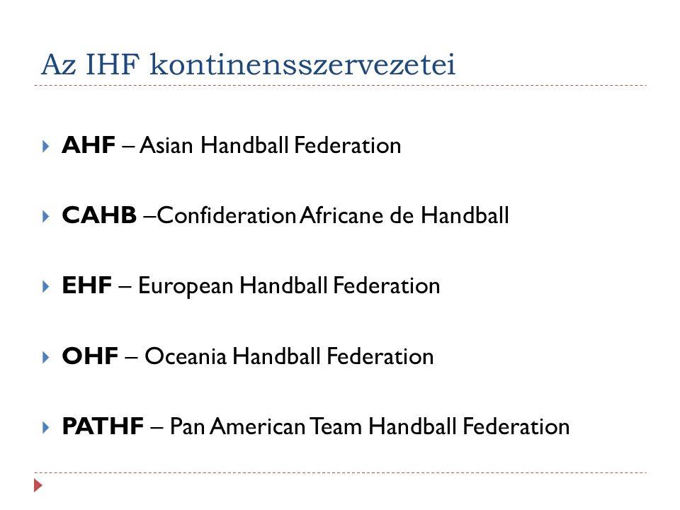 Az IHF kontinensszervezetei  AHF – Asian Handball Federation  CAHB –Confideration Africane de Handball  EHF – European Handball Federation  OHF –