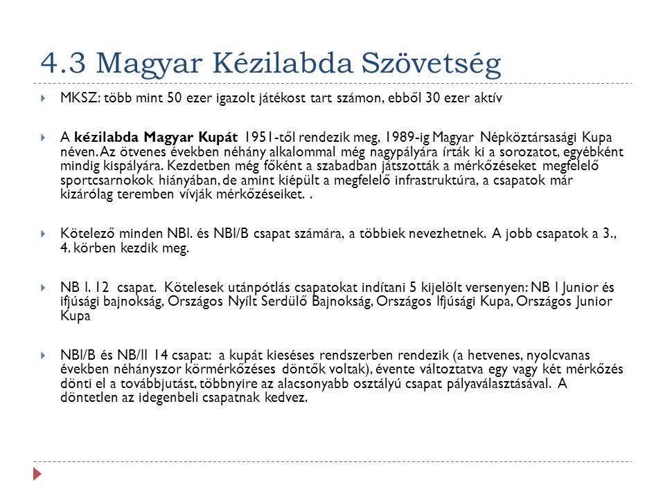 4.3 Magyar Kézilabda Szövetség  MKSZ: több mint 50 ezer igazolt játékost tart számon, ebből 30 ezer aktív  A kézilabda Magyar Kupát 1951-től rendezik meg, 1989-ig Magyar Népköztársasági Kupa néven.