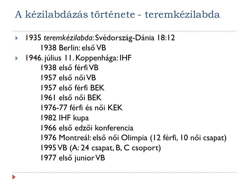 Fiatal sportágak: Strandkézilabda 1992 Olaszország: megalakulás 1996 bekerül az EHF alapszabályába 1996 IHF kiadja az 1.