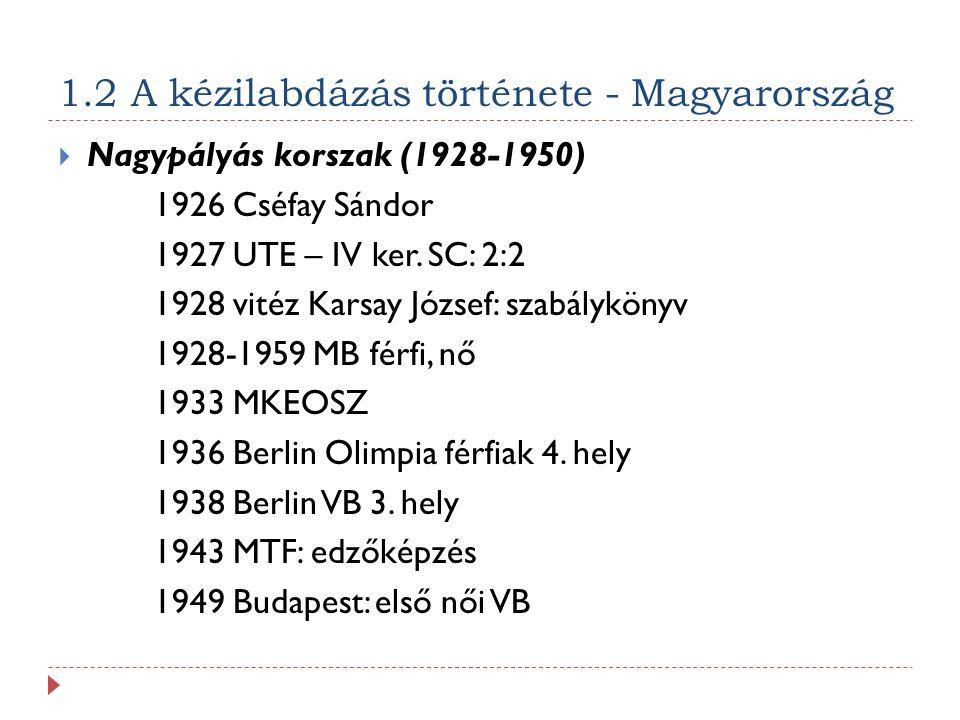 1.2 A kézilabdázás története - Magyarország  Nagypályás korszak (1928-1950) 1926 Cséfay Sándor 1927 UTE – IV ker.