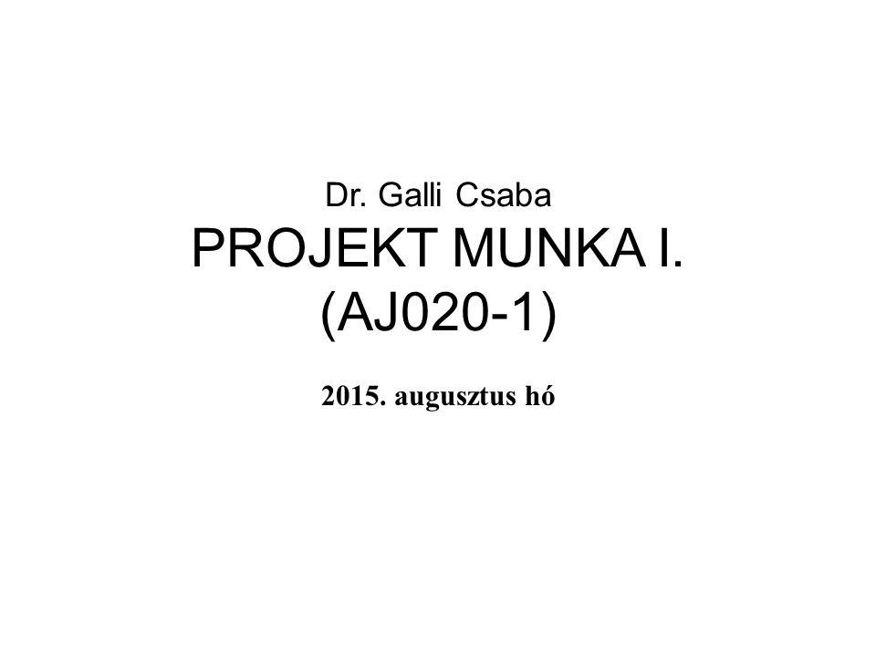 Dr. Galli Csaba PROJEKT MUNKA I. (AJ020-1) 2015. augusztus hó
