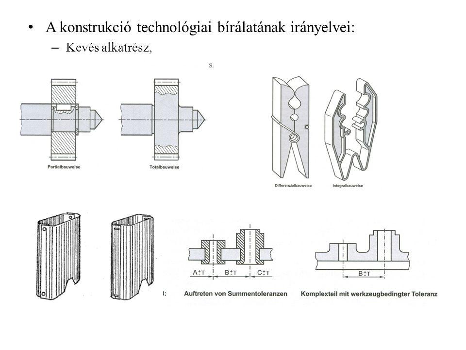 A konstrukció technológiai bírálatának irányelvei: – Kevés alkatrész,