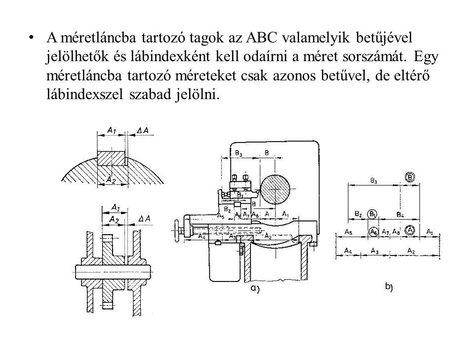 A méretláncba tartozó tagok az ABC valamelyik betűjével jelölhetők és lábindexként kell odaírni a méret sorszámát. Egy méretláncba tartozó méreteket c