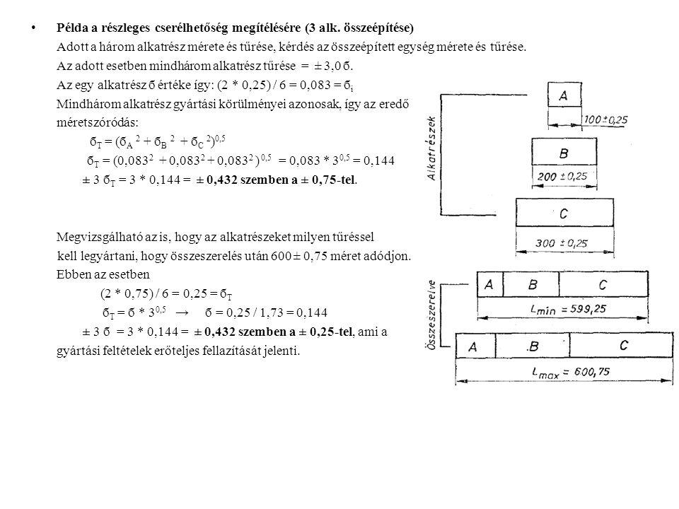 Példa a részleges cserélhetőség megítélésére (3 alk. összeépítése) Adott a három alkatrész mérete és tűrése, kérdés az összeépített egység mérete és t