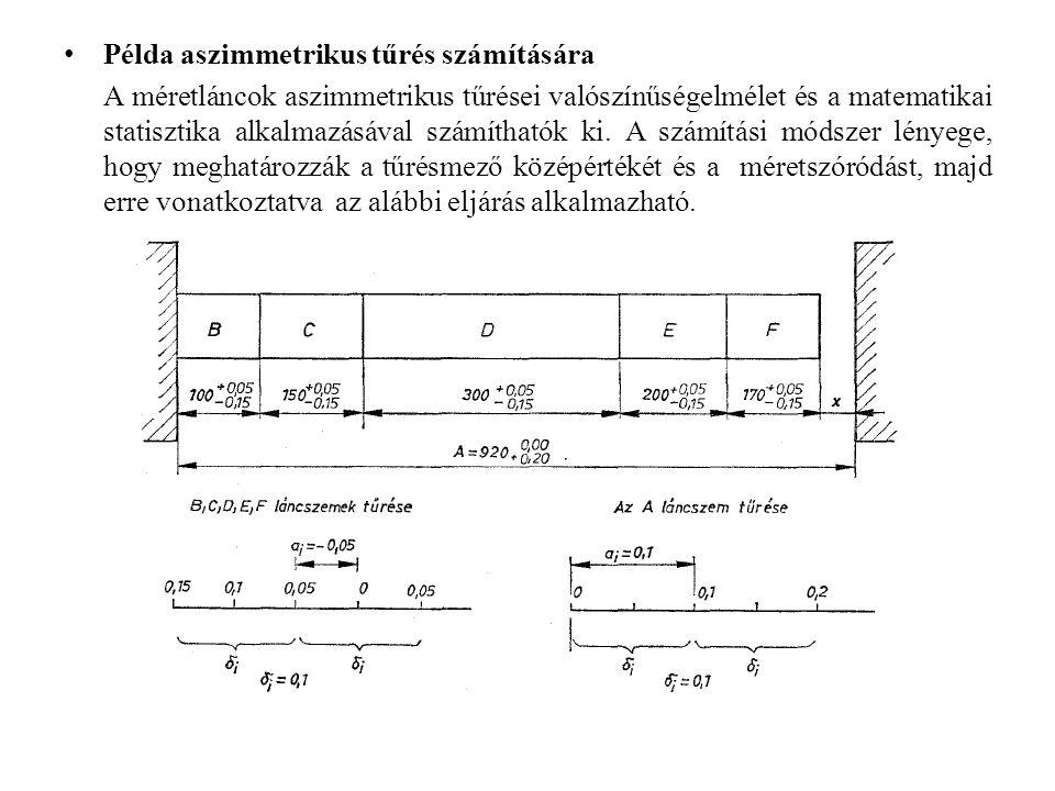 Példa aszimmetrikus tűrés számítására A méretláncok aszimmetrikus tűrései valószínűségelmélet és a matematikai statisztika alkalmazásával számíthatók