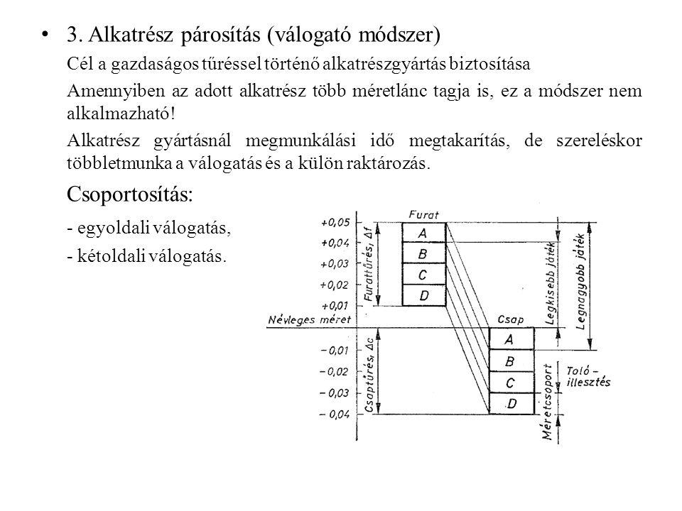 3. Alkatrész párosítás (válogató módszer) Cél a gazdaságos tűréssel történő alkatrészgyártás biztosítása Amennyiben az adott alkatrész több méretlánc