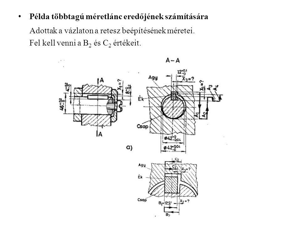 Példa többtagú méretlánc eredőjének számítására Adottak a vázlaton a retesz beépítésének méretei. Fel kell venni a B 2 és C 2 értékeit.
