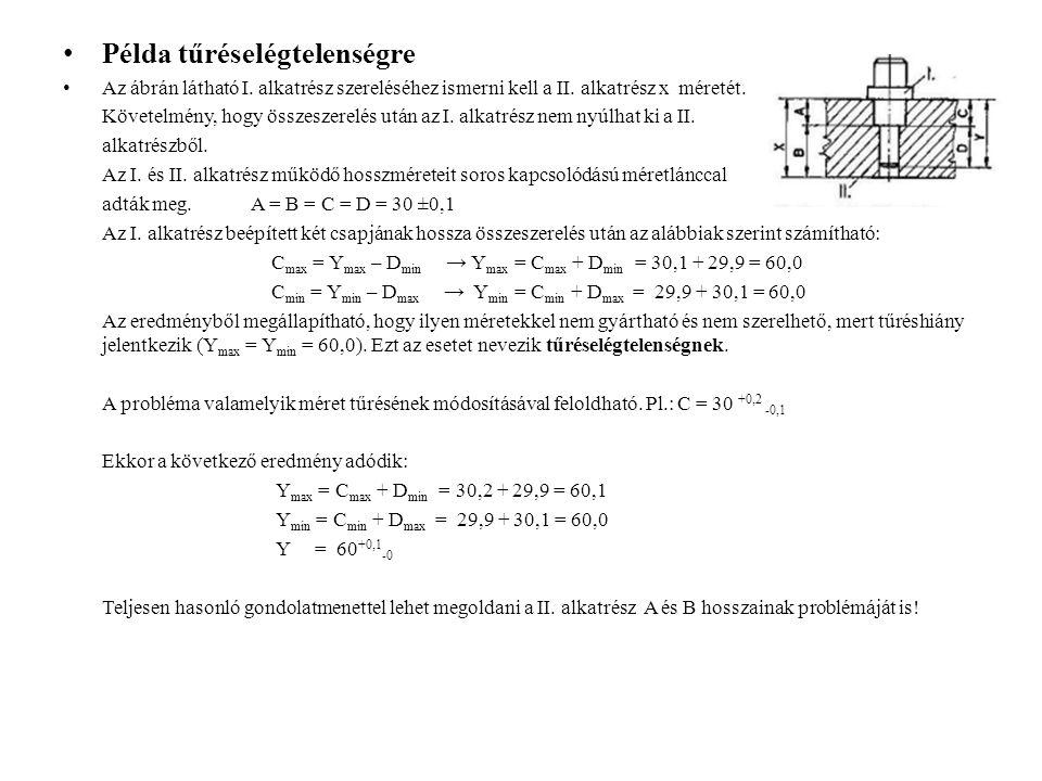 Példa tűréselégtelenségre Az ábrán látható I. alkatrész szereléséhez ismerni kell a II. alkatrész x méretét. Követelmény, hogy összeszerelés után az I