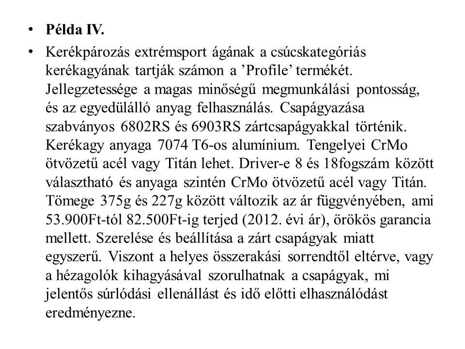 Példa IV. Kerékpározás extrémsport ágának a csúcskategóriás kerékagyának tartják számon a 'Profile' termékét. Jellegzetessége a magas minőségű megmunk