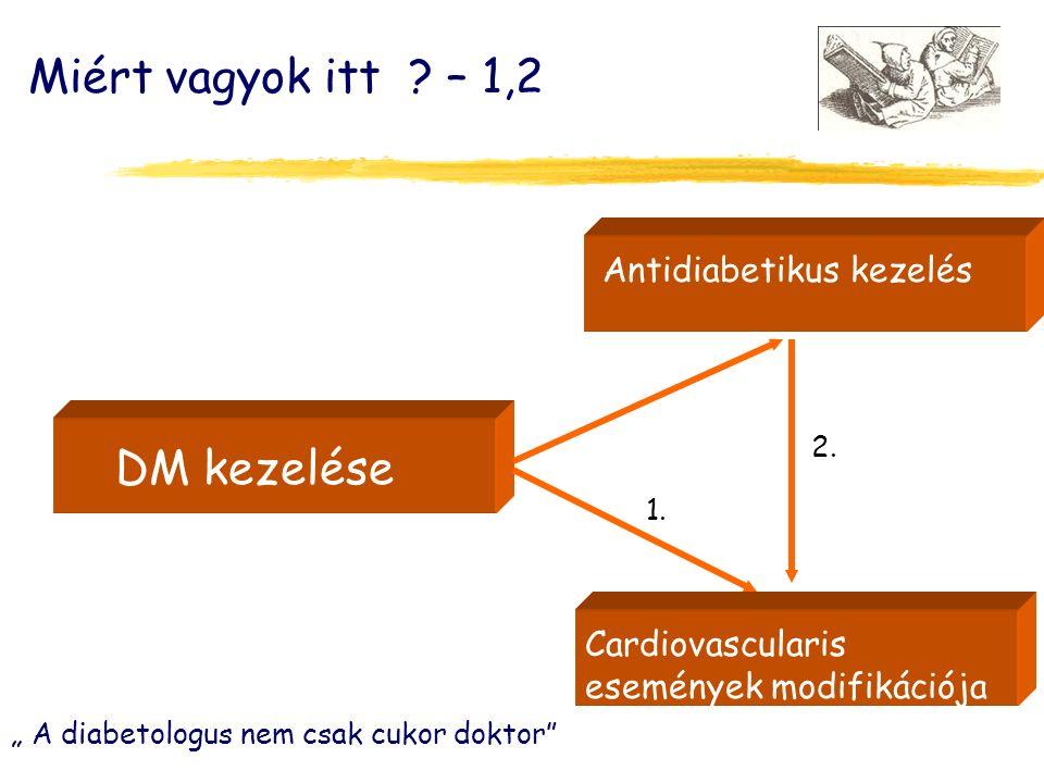 DM kezelése Antidiabetikus kezelés Cardiovascularis események modifikációja Miért vagyok itt .