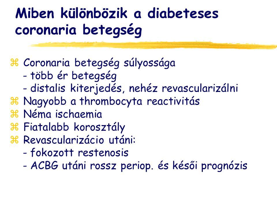 Miben különbözik a diabeteses coronaria betegség z Coronaria betegség súlyossága - több ér betegség - distalis kiterjedés, nehéz revascularizálni z Nagyobb a thrombocyta reactivitás z Néma ischaemia z Fiatalabb korosztály z Revascularizácio utáni: - fokozott restenosis - ACBG utáni rossz periop.