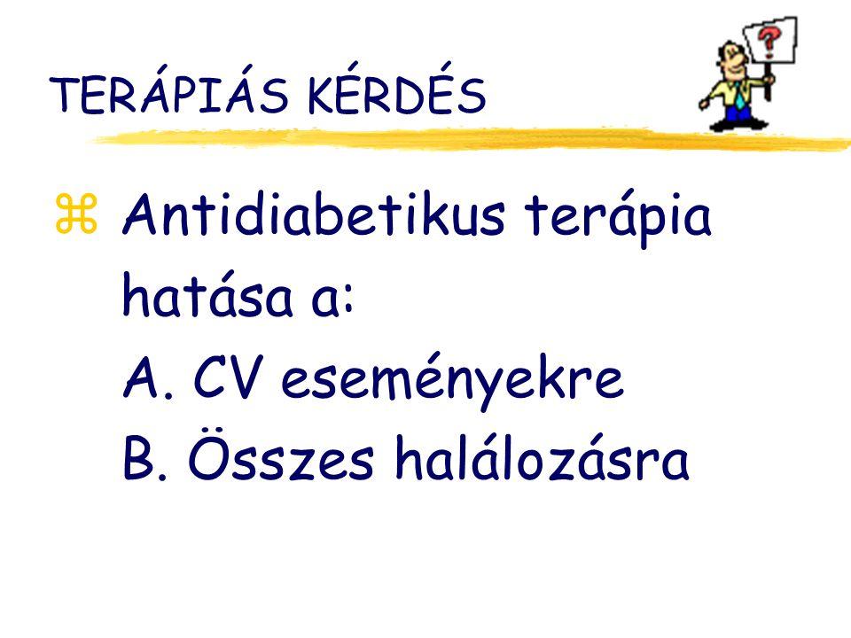 TERÁPIÁS KÉRDÉS z Antidiabetikus terápia hatása a: A. CV eseményekre B. Összes halálozásra