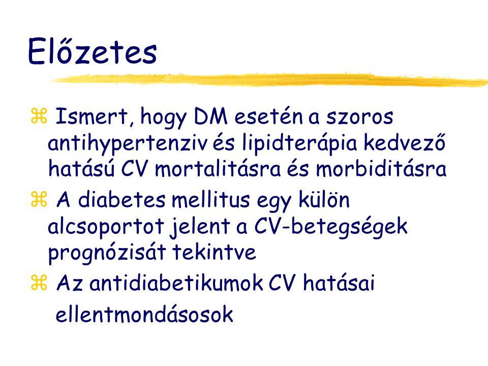 Előzetes z Ismert, hogy DM esetén a szoros antihypertenziv és lipidterápia kedvező hatású CV mortalitásra és morbiditásra z A diabetes mellitus egy külön alcsoportot jelent a CV-betegségek prognózisát tekintve z Az antidiabetikumok CV hatásai ellentmondásosok