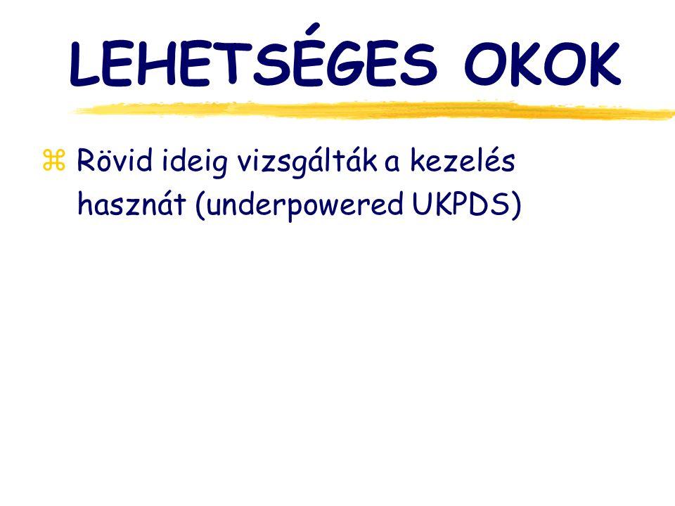LEHETSÉGES OKOK z Rövid ideig vizsgálták a kezelés hasznát (underpowered UKPDS)