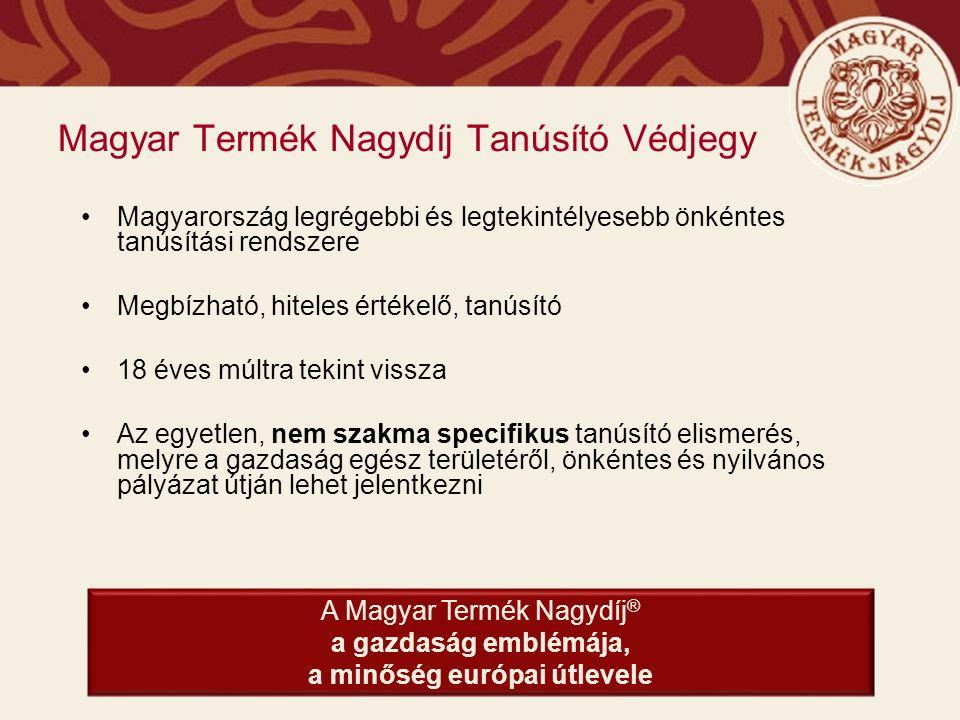 A Magyar Termék Nagydíj küldetése A minőség ügye iránt elkötelezett termékek, szolgáltatások és gazdasági szervezetek elismerése, díjazása.