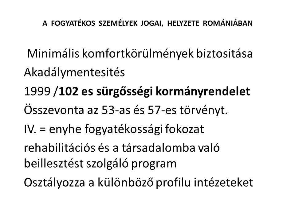 A FOGYATÉKOS SZEMÉLYEK JOGAI, HELYZETE ROMÁNIÁBAN Minimális komfortkörülmények biztositása Akadálymentesités 1999 /102 es sürgősségi kormányrendelet Ö