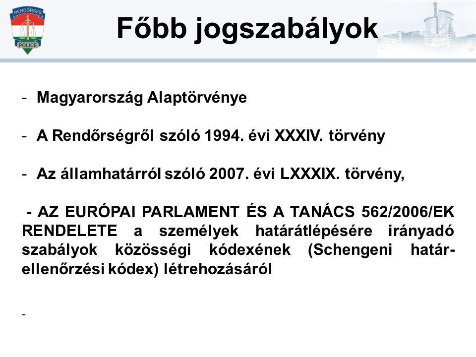 Főbb jogszabályok -Magyarország Alaptörvénye -A Rendőrségről szóló 1994. évi XXXIV. törvény -Az államhatárról szóló 2007. évi LXXXIX. törvény, - AZ EU