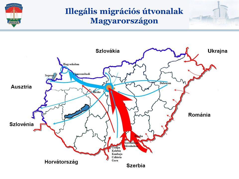 Illegális migrációs útvonalak Magyarországon Debrecen Bicske Vámosszabadi Röszke Ásotthalom Mórahalom Tompa Kelebia Kunbaja Csikéria Gara Hegyeshalom