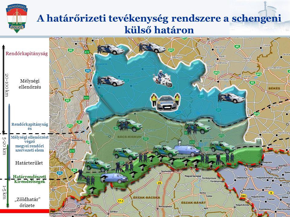 """A határőrizeti tevékenység rendszere a schengeni külső határon 1-5 km 5-20 km 20-100 km Határrendészeti Kirendeltségek """"Zöldhatár őrizete Határterület Rendőrkapitányság és Mélységi ellenőrzést végző megyei rendőri szervezeti elem Mélységi ellenőrzés Rendőrkapitányság"""