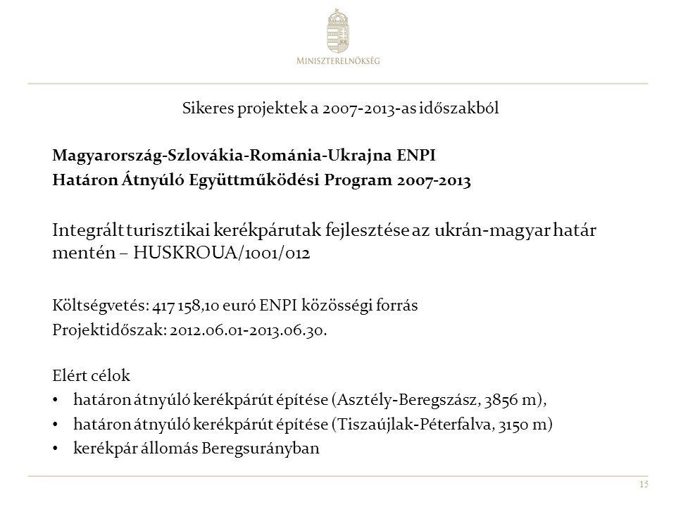 15 Sikeres projektek a 2007-2013-as időszakból Magyarország-Szlovákia-Románia-Ukrajna ENPI Határon Átnyúló Együttműködési Program 2007-2013 Integrált turisztikai kerékpárutak fejlesztése az ukrán-magyar határ mentén – HUSKROUA/1001/012 Költségvetés: 417 158,10 euró ENPI közösségi forrás Projektidőszak: 2012.06.01-2013.06.30.