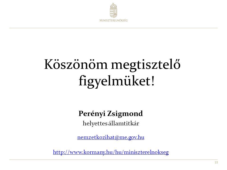 18 Perényi Zsigmond helyettes államtitkár nemzetkozihat@me.gov.hu http://www.kormany.hu/hu/miniszterelnokseg Köszönöm megtisztelő figyelmüket!