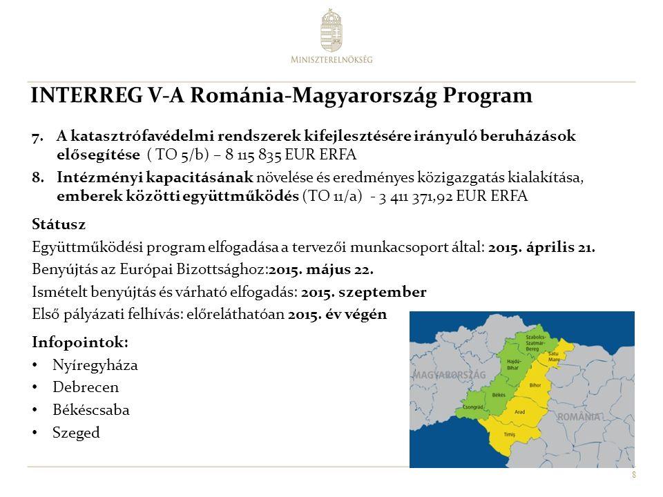 8 7.A katasztrófavédelmi rendszerek kifejlesztésére irányuló beruházások elősegítése ( TO 5/b) – 8 115 835 EUR ERFA 8.Intézményi kapacitásának növelése és eredményes közigazgatás kialakítása, emberek közötti együttműködés (TO 11/a) - 3 411 371,92 EUR ERFA Státusz Együttműködési program elfogadása a tervezői munkacsoport által: 2015.