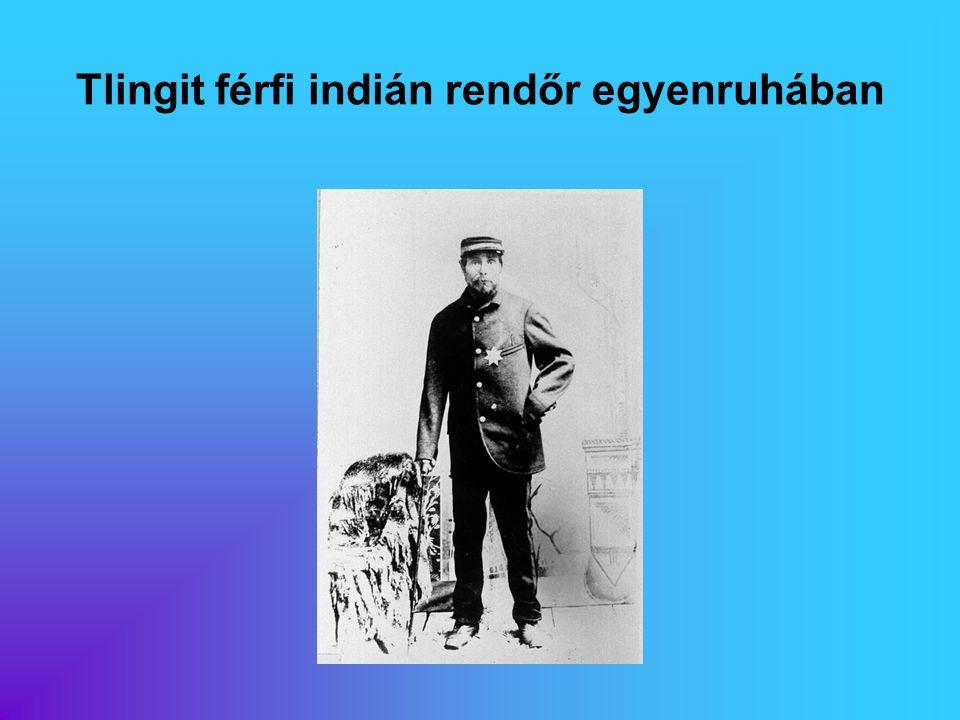 Tlingit férfi indián rendőr egyenruhában