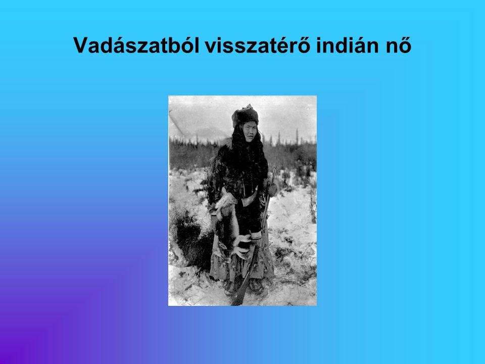 Vadászatból visszatérő indián nő
