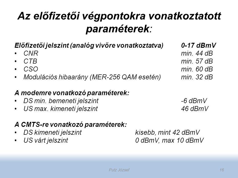 Az előfizetői végpontokra vonatkoztatott paraméterek: Előfizetői jelszint (analóg vivőre vonatkoztatva) 0-17 dBmV CNRmin. 44 dB CTBmin. 57 dB CSOmin.