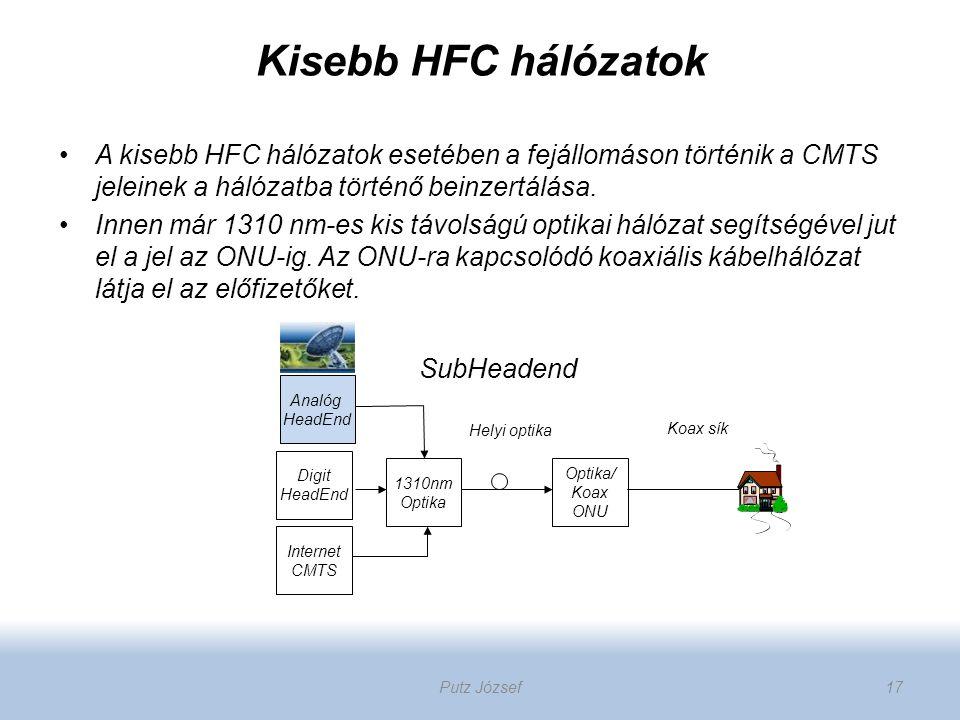 Kisebb HFC hálózatok A kisebb HFC hálózatok esetében a fejállomáson történik a CMTS jeleinek a hálózatba történő beinzertálása. Innen már 1310 nm-es k