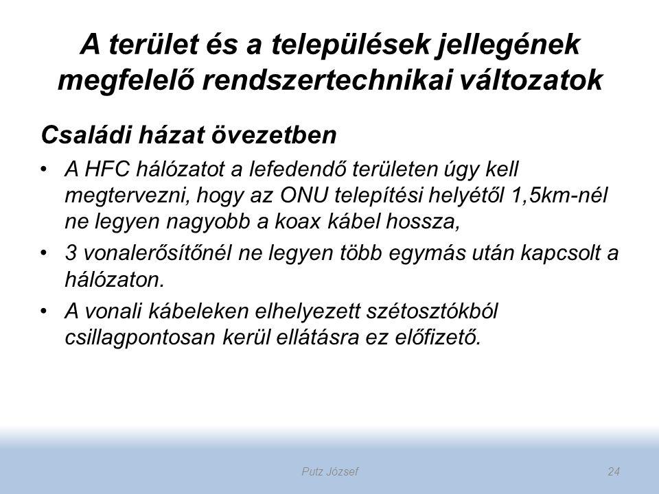 A terület és a települések jellegének megfelelő rendszertechnikai változatok Családi házat övezetben A HFC hálózatot a lefedendő területen úgy kell me